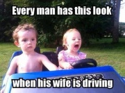 Driving with his wife