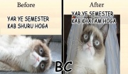 Before and after semester starts